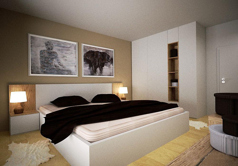 Vestavěná skříň do ložnice s otevřenou policovou částí a bílou postelí s nočními stolky