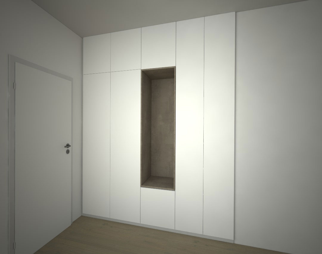 Pantová skříň do chodby s otevřenou částí na věšáky