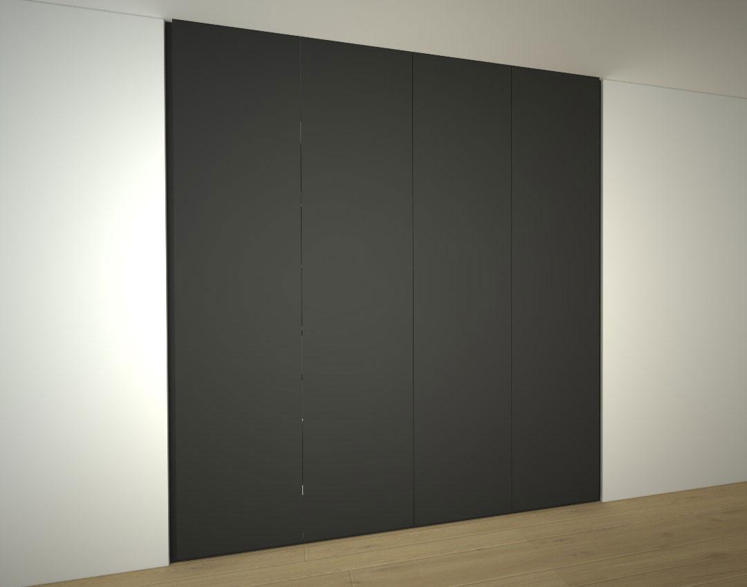 Tmavá vestavěná skříň se čtyřmi pantovými dveřmi