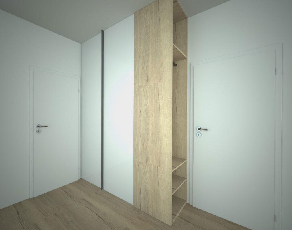 Pantová skříň do chodby ukončena otevřeným botníkem