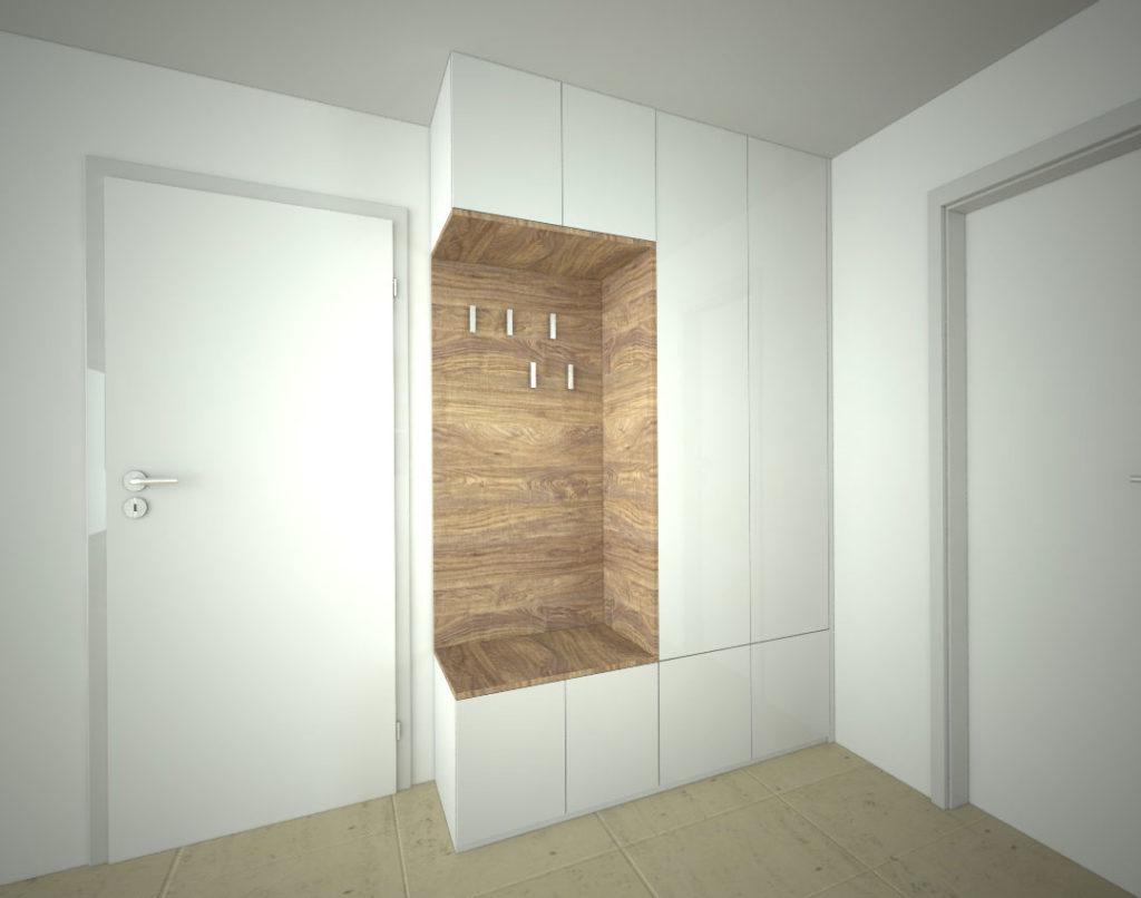 Skříň na míru s pantovými dveřmi kombinovaná s botníkem a věšákovou stěnou