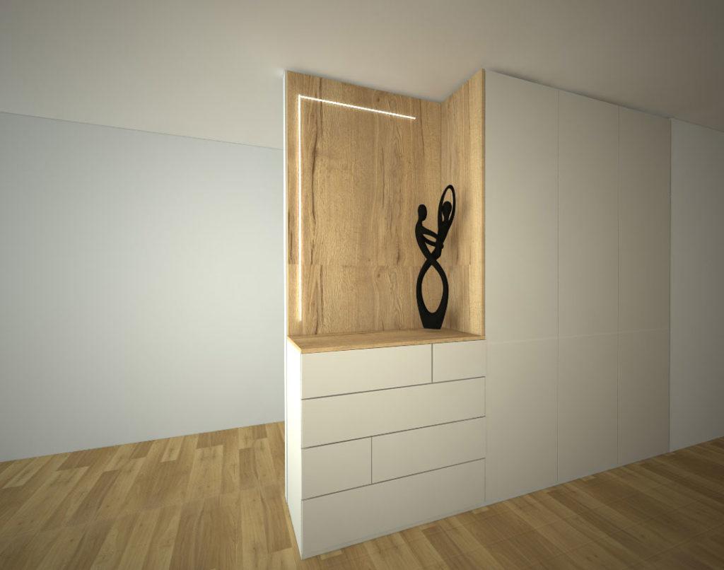 Vestavěná skříň na míru s otevřenou osvětlenou částí