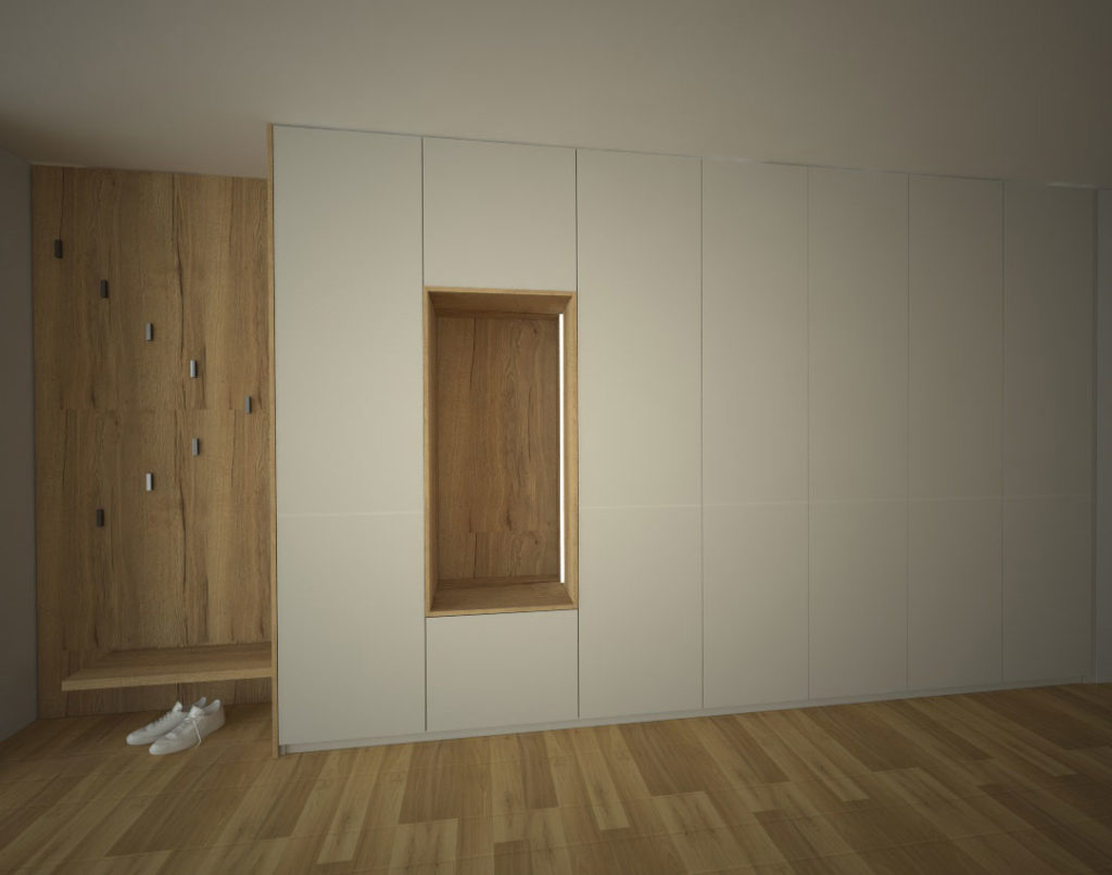 Skříň na chodbu s pantovými dveřmi a věšákovou stěnou se sedátkem