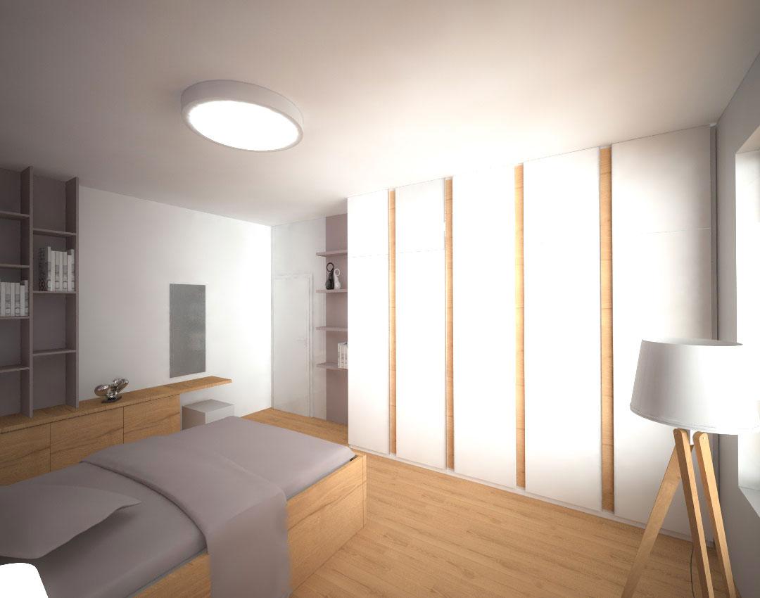 Moderní vestavěná skříň s pantovými dveřmi do ložnice