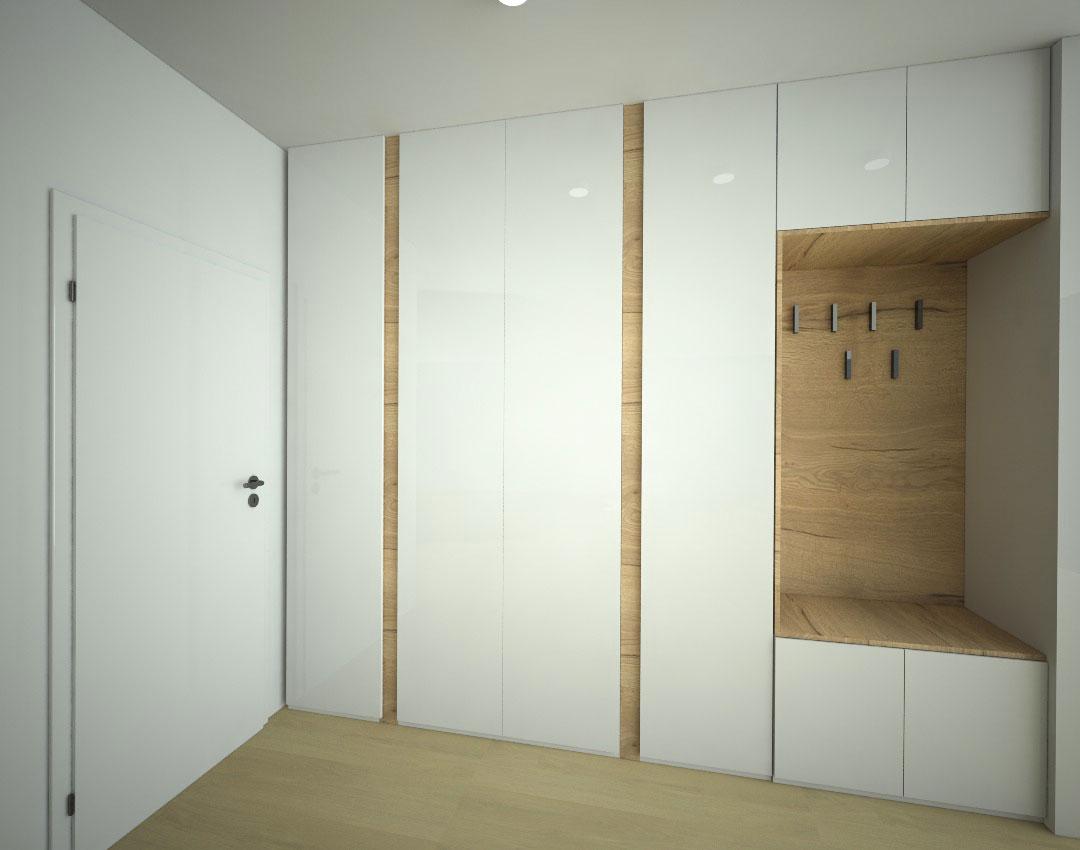 Moderní vestavěná skříň do chodby s pantovými dveřmi a věšáky