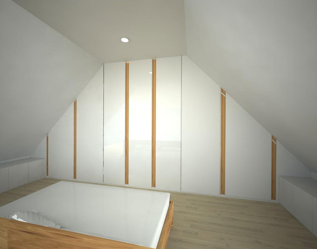 Moderní pantová skříň na míru do podkroví