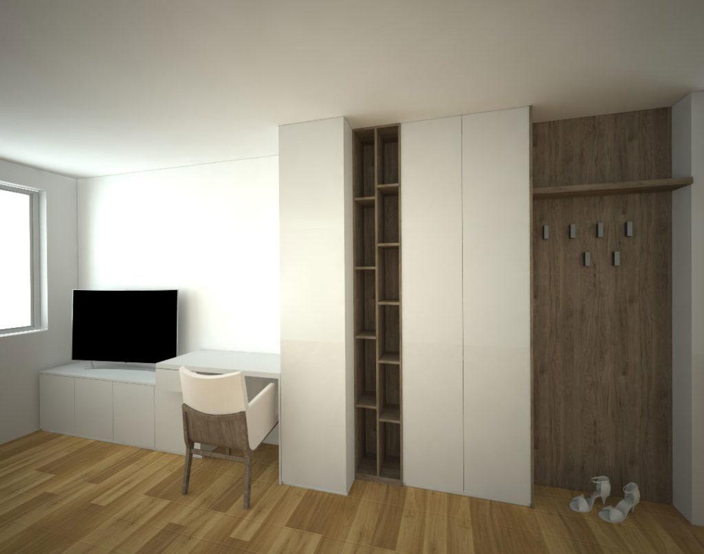 Vestavěná skříň s pantovými dveřmi kombinovaná s věšákovou stěnou a pracovním stolem