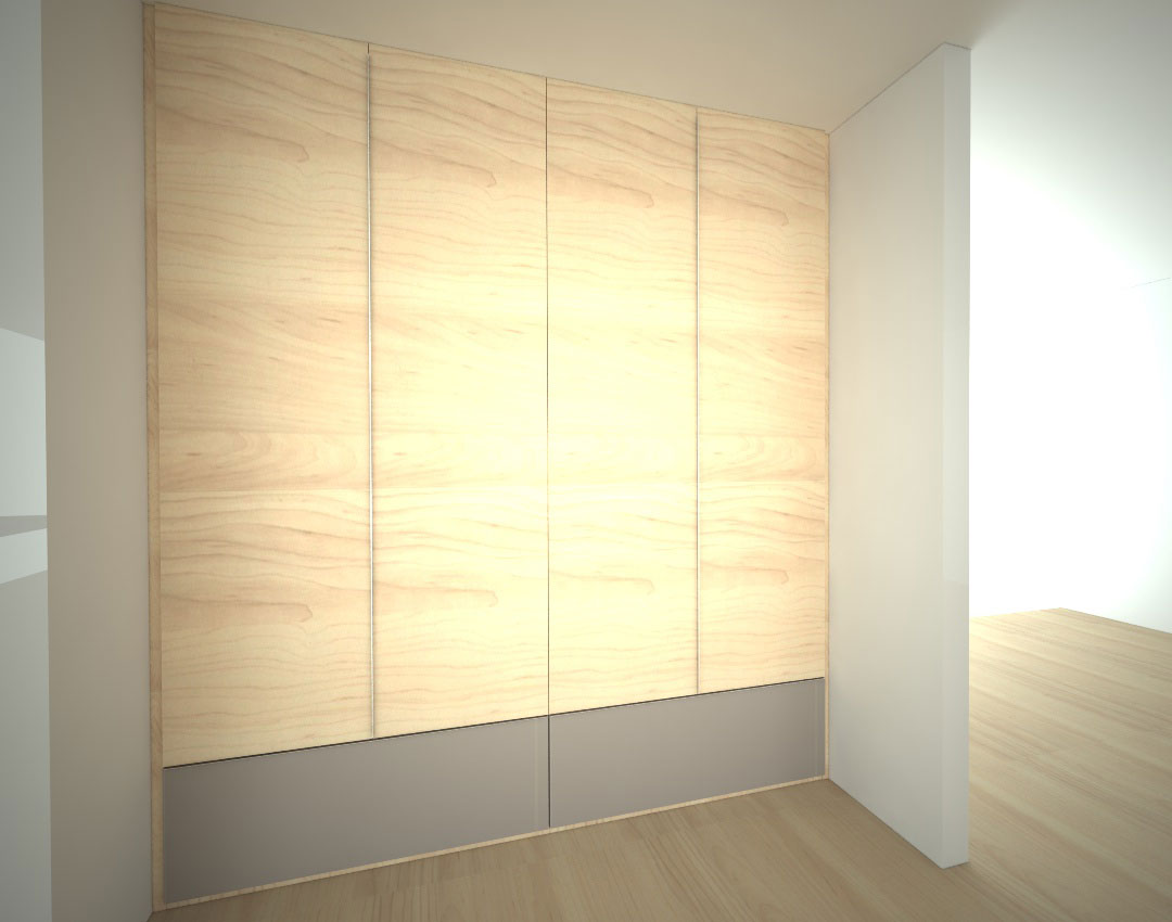 Vestavěná skříň s pantovými dveřmi s narážecími úchytkami a velkými zásuvkami