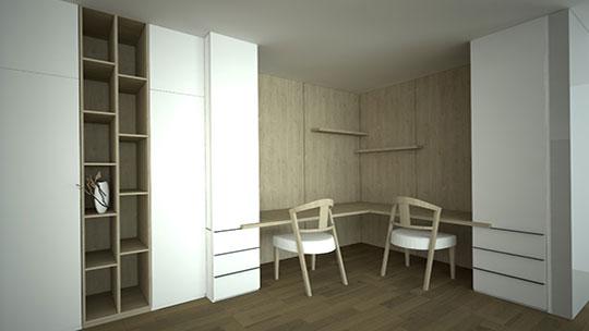 Vestavěná skříň s pantovými dveřmi a pracovnou
