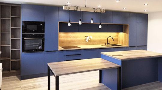Ukázka namontované kuchyně